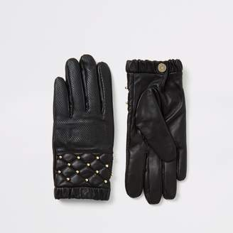 River Island Womens Black leather quilted stud gloves