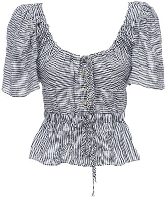 Ciao Lucia Ezio Cotton Blend Gingham Top