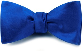 Tie Bar Solid Satin Royal Blue Bow Tie