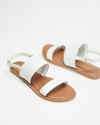 Atmos & Here Atmos&Here - Women's White Flat Sandals - Karri Woven Leather Sandals - Size 37 at The Iconic