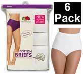 Fruit of the Loom Women's CottonPack White Cotton Briefs Underwear Panties