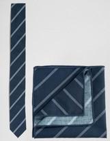 Minimum Tie And Pocket Square Set In Stripe