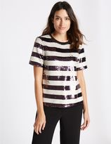 Marks and Spencer Sequin Striped Short Sleeve T-Shirt