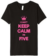 Kids Keep Calm I'm Five - 5th Birthday Gift Tee Pink (Fitted)