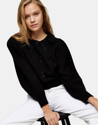 Topshop crochet collar knitted cardigan in black