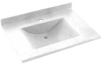 """Swan Contour Solid Surface 25"""" Single Bathroom Vanity Top Top Finish: White"""