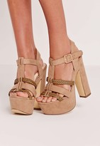Missguided Pleated Strap Platforms Nude