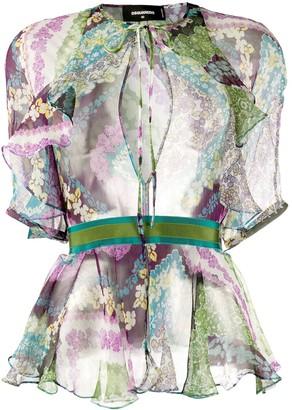 DSQUARED2 Floral-Print Peplum-Hem Chiffon Blouse