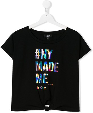 DKNY knot detail holographic logo T-shirt