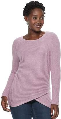 Croft & Barrow Women's Tulip-Hem Crewneck Sweater