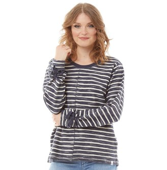Animal Womens Tally Yarn Dyed Striped Sweatshirt India Ink Blue