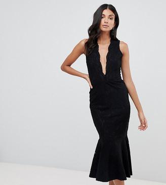 John Zack Tall allover lace midi dress with peplum hem in black