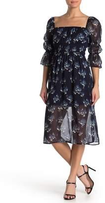 Rowa ROW A Floral Square Neck Midi Dress