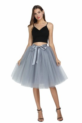 FEOYA Tutu Skirt Ladies White Petticoat Skirt Retro Tutu Underskirt Ballet Skirt Carnival Party Petticoat 50s Vitnage Dress Tutu Tulle Skirt Knee Length Women Wedding