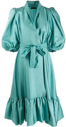 Stine Goya Textured Sateen Wrap Dress