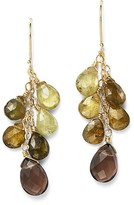 Bloomingdale's Green Garnet and Smoky Quartz Drop Earrings in 14K Yellow Gold