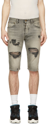 Unravel Grey Denim Distressed Shorts