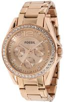 Fossil ES2811 Women's Classic Stainless Steel Chronograph Watch Crystal Accents