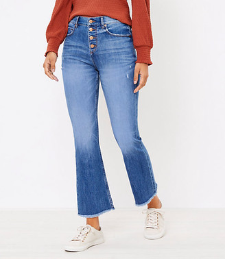 LOFT Tall Flare Crop Jeans in Authentic Light Indigo Wash