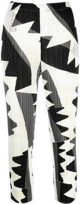 Pleats Please Issey Miyake Abstract-Print Cropped Trousers