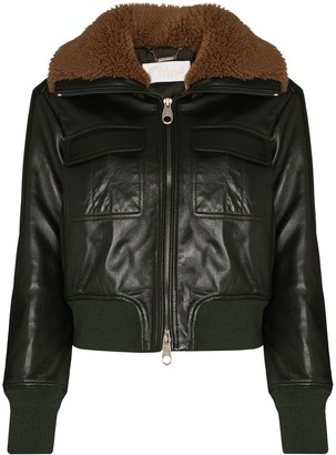 Chloé Shearling Collar Zip-Up Jacket