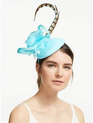 John Lewis & Partners Gloria Pillbox Feather Fascinator, Ocean