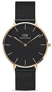 Daniel Wellington Petite Ashfield Black Dial & Mesh Bracelet Watch, 36mm