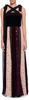 Lanvin Sleeveless Velvet Combo Gown w/Paneled Lace Skirt, Black/Multi