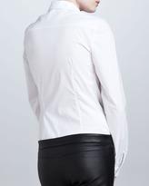 Oscar de la Renta Floral-Applique Boyfriend Blouse, White