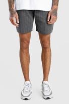 boohoo Mens Grey MAN Pinstripe Jacquard Mid Length Shorts, Grey