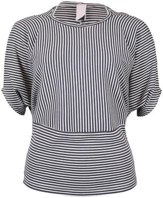 Format MIND Grey Ecru Striped Interlock Shirt - S - White/Grey