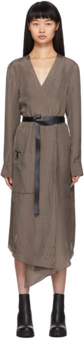 Tibi Brown Walden Midi Wrap Dress