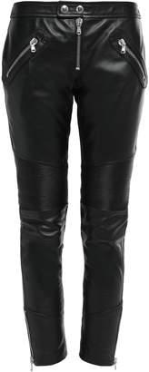 RED Valentino Zip-detailed Leather Slim-leg Pants