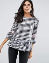 AX Paris Black And White Check Top With Floral Embroidery