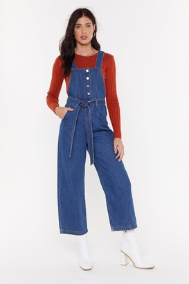 Nasty Gal Womens Tie Me Denim Belted Dungarees - blue - 8