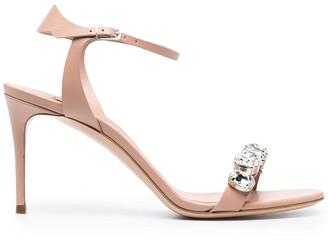 Casadei Faux Crystal Embellished Ankle Strap Sandals