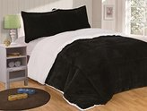 Chezmoi Collection 3-piece Micromink Sherpa Reversible Down Alternative Comforter Set (King, Black)