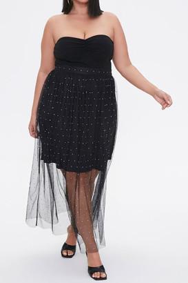 Forever 21 Plus Size Faux Gem Mesh Midi Skirt