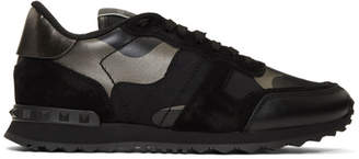 Valentino Black and Gunmetal Garavani Rockrunner Sneakers