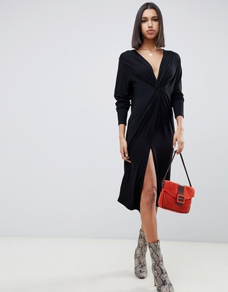 Asos Design DESIGN relaxed long sleeve midi dress with knot front