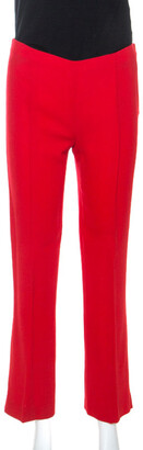Valentino Red Wool Crepe Tailored Trousers M