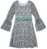 Speechless Bell-Sleeve Printed Lace Skater Dress - Girls