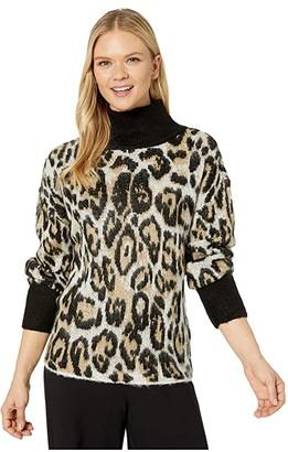 Vince Camuto Long Sleeve Cheetah Jacquard Turtleneck Sweater (Rich Black) Women's Sweater
