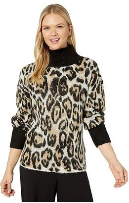 Vince Camuto Long Sleeve Cheetah Jacquard Turtleneck Sweater