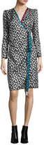 Marc Jacobs Printed Long-Sleeve Wrap Dress, White
