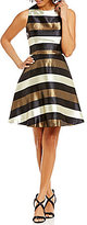 Daniel Cremieux Jocelyn Striped Metallic Twill Fit-and-Flare Sleeveless Dress