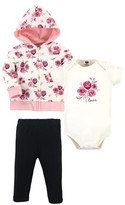 Hudson Baby Baby Girl Cotton Hoodie, Bodysuit and Pant Set, 3pc