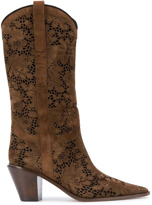 Casadei floral lace Texas boots