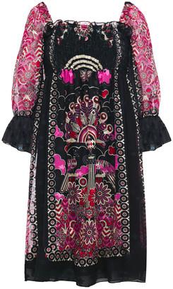 Anna Sui Shirred Fil Coupe Crepe De Chine Mini Dress