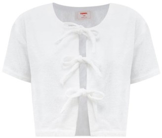 Terry - Tie-front Cotton-terry Crop Top - White
